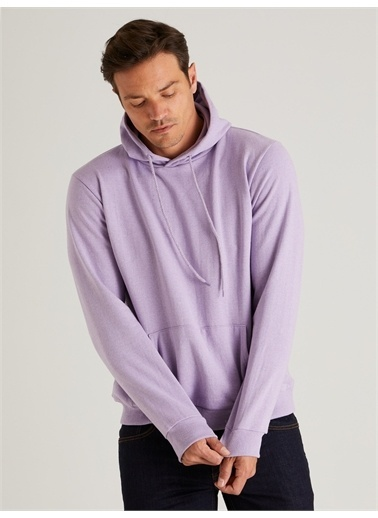 Dufy Kapüşonlu Kanguru Ceplı Erkek Sweatshirt - Slim Fit Lila